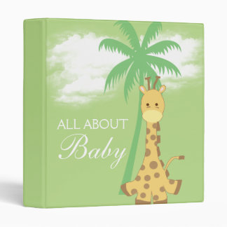 Baby shower new baby neutral green giraffe gift binder