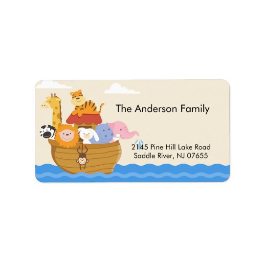 Baby Shower Noah's Ark address Label