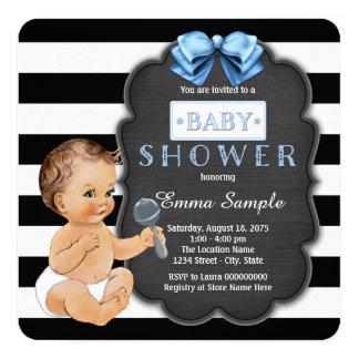 Baby shower noir moderne de tableau de garçons de carton d'invitation  13,33 cm