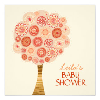 Baby Shower Orange Blossom Tree Custom Invitation
