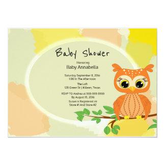 Baby shower orange de hibou carton d'invitation  13,97 cm x 19,05 cm