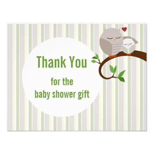 Baby Shower Owls Flat Thank You Announcement