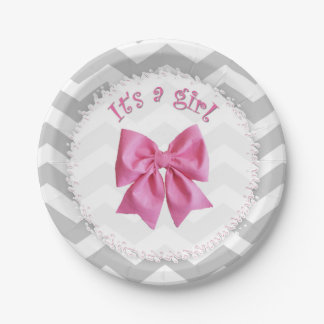 "Baby shower paper plates that say ""It's a girl"""