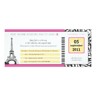 Baby Shower Paris Boarding Pass Card
