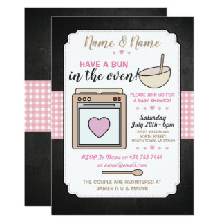 Baby Shower Party Bun in the oven Pink Girl Card