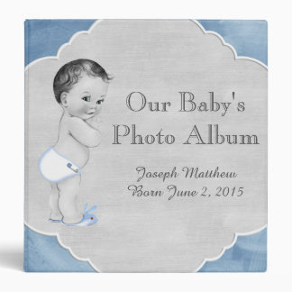 Baby Shower Pastel Blue Vintage Little Boy Vinyl Binder