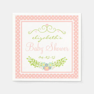 Baby Shower Peach Floral Paper Napkins