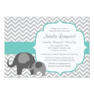Baby shower personnalisable de couleur d'éléphant carton d'invitation  12,7 cm x 17,78 cm