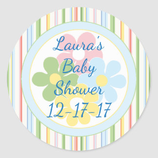 "Baby Shower ""Picnic Stripes/Floral 1 1/2"" or 3"" Classic Round Sticker"