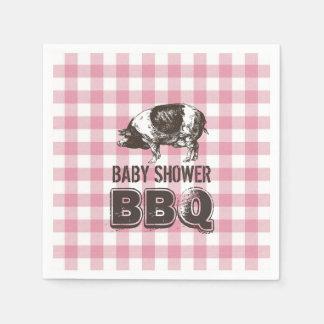 Baby Shower Pig Roast BBQ Pink Gingham Disposable Napkins