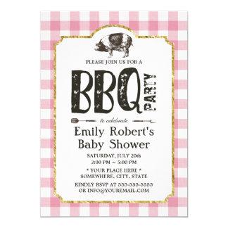 Baby Shower Pig Roast BBQ Pink Plaid Card