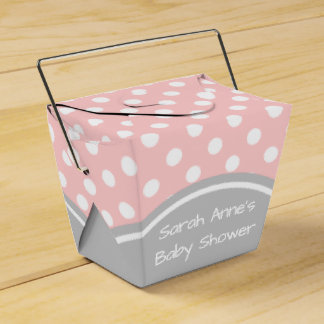 Baby Shower Pink and Grey Polka Dot Party Favor Box