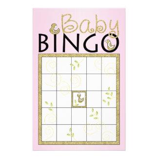 "Baby Shower Pink BINGO ""Gold Birds"" Flyers"