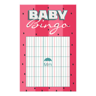 "Baby Shower Pink BINGO ""Umbrella Watermelon"" Flyer"