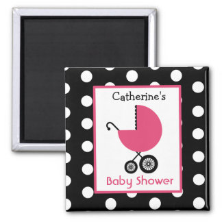 Baby Shower - Pink Carriage and Polka Dot Magnet