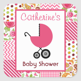 Baby Shower Pink Carriage & Girly Patchwork Square Sticker