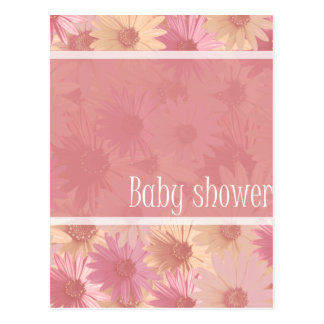 baby shower pink daisies postcard