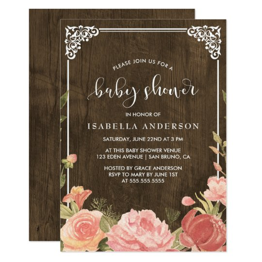 Baby Shower | Pink Floral Bouquet on Rustic Wood Card