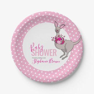 Baby shower pink heart kangaroo paper plate