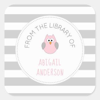 Baby Shower pink owl BOOK sticker, bookplate Square Sticker