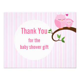 Baby Shower Pink Owls Flat Thank You Personalized Invite