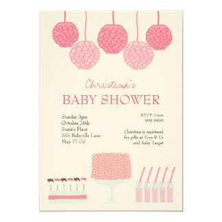 Baby Shower Pink Party Ruffle Cake Pom Poms Invite