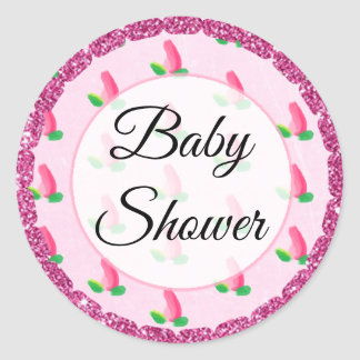 Baby Shower Pink Rosebud Stickers