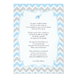 Baby shower poem thank you notes, blue elephant card
