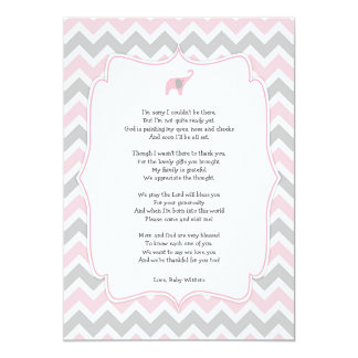 Baby shower poem thank you notes, pink elephant card