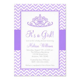 Baby shower pourpre de princesse Crown Girl de Carton D'invitation 12,7 Cm X 17,78 Cm