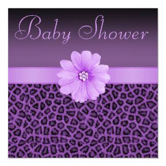 Baby shower pourpre d'empreinte de léopard et de carton d'invitation  13,33 cm