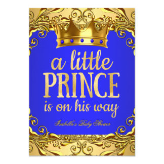 "Baby Shower Prince on his way Gold Royal Blue 5"" X 7"" Invitation Card"