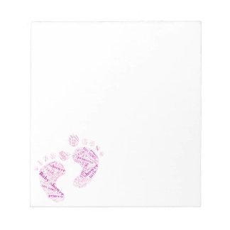 Baby shower princess baby girl pink foots print notepad