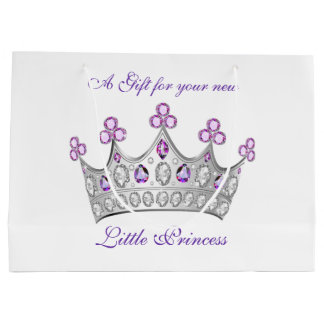 Baby Shower, Princess Crown, Pink and Purple Large Gift Bag