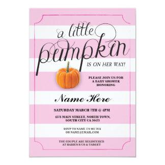 Baby Shower Pumpkin Pink Girl Harvest Invitation