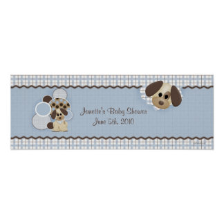 Baby Shower Puppy Banner Poster