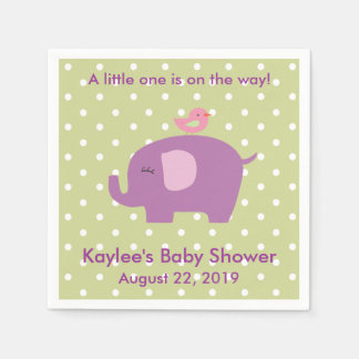 Baby Shower Purple Elephant Polka Dot Napkins Disposable Napkin