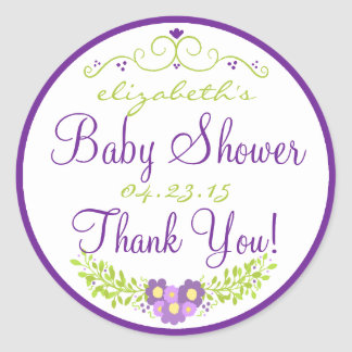 Baby Shower Purple Floral Thank You Classic Round Sticker