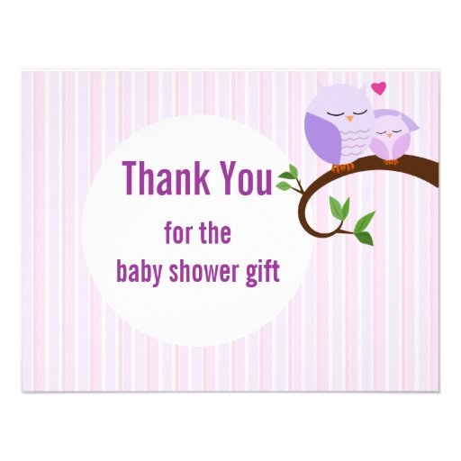 Baby Shower Purple Owls Flat Thank You Custom Invites