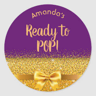 Baby Shower purple with golden bow Ready to pop Classic Round Sticker