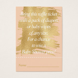 Baby Shower Raffle Ticket/Classic Pink/Gold Business Card