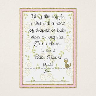 Baby Shower Raffle Ticket/PINK/Gold Birds Business Card