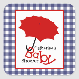 Baby Shower Red Umbrella & Blue Gingham Square Sticker
