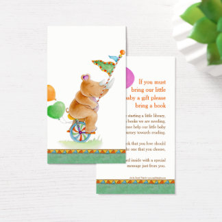 Baby shower rhinoceros art book gifting cards