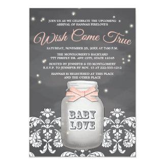 Baby shower rose de pot de maçon de luciole de carton d'invitation  12,7 cm x 17,78 cm