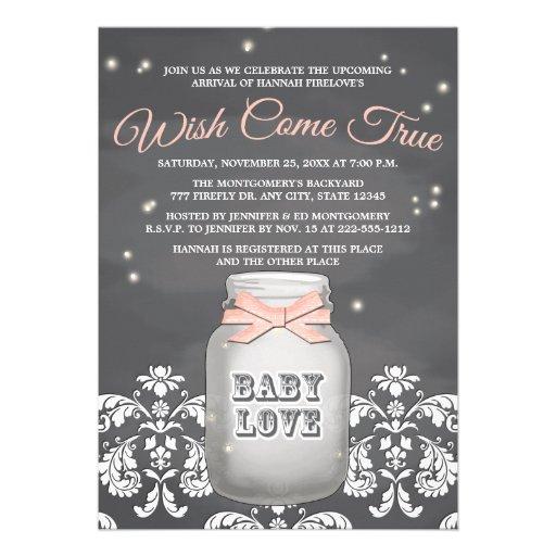 Baby shower rose de pot de maçon de luciole de tab cartons d'invitation