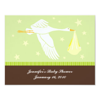 "Baby Shower RSVP Card - Green and Brown 4.25"" X 5.5"" Invitation Card"