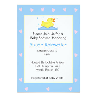 Baby Shower Rubber Ducky Custom Invitations