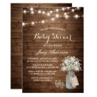 Baby Shower Rustic Baby's Breath Floral Mason Jar Card