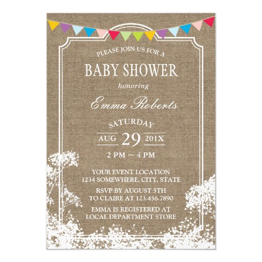 Baby Shower Rustic Burlap Baby's Breath Card